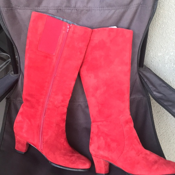 Red Suede Ladies Boots | Poshmark